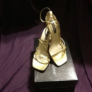 Adrienne Vittadini gold lace up strappy heel